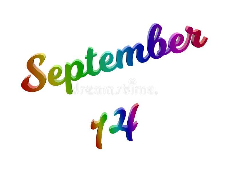 14 settembre data del calendario di mese, 3D calligrafico ha reso l'illustrazione del testo colorata con la pendenza dell'arcobal royalty illustrazione gratis