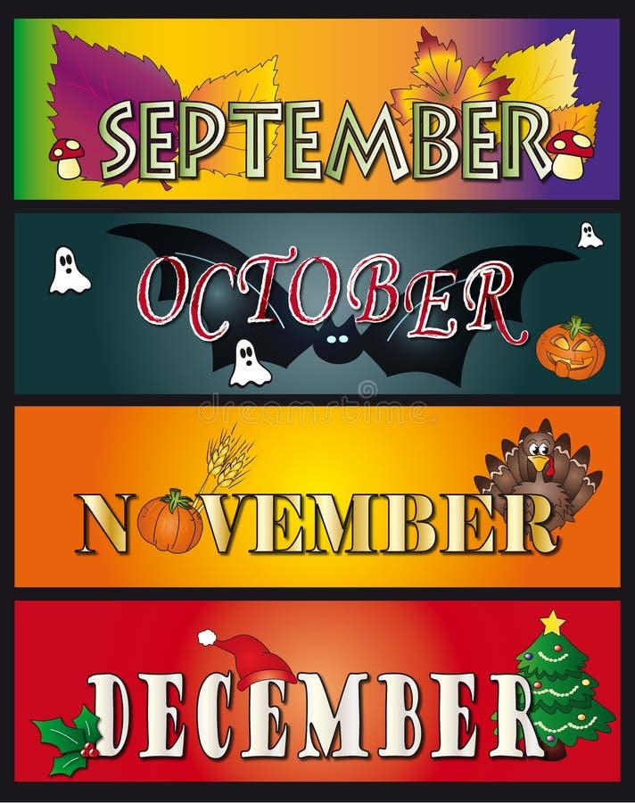Settembre ottobre novembre dicembre illustrazione di stock