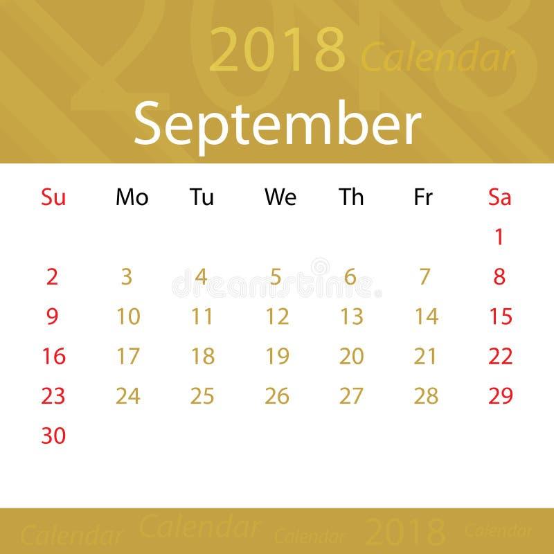 Settembre 2018 super popolare dell'oro del calendario per l'affare royalty illustrazione gratis