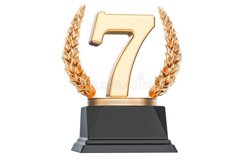 Settima tazza del trofeo del posto, rappresentazione 3D royalty illustrazione gratis