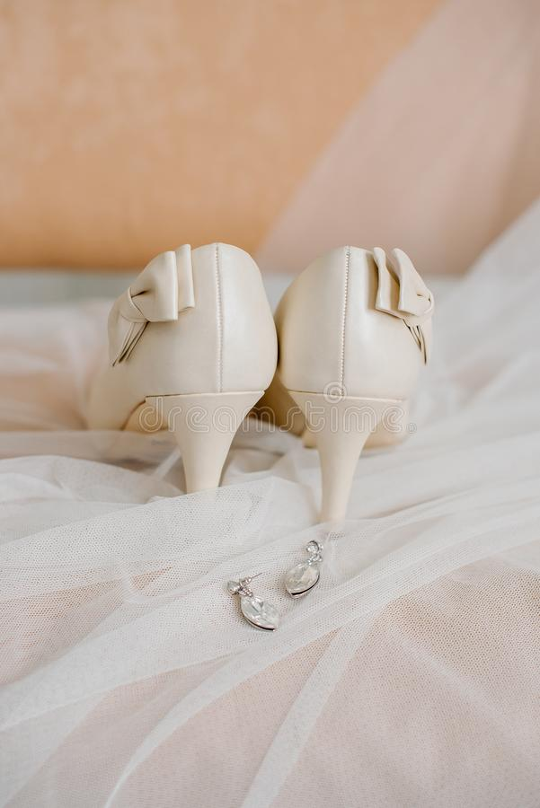 Setting the bride`s wedding items at the training camp stock photo