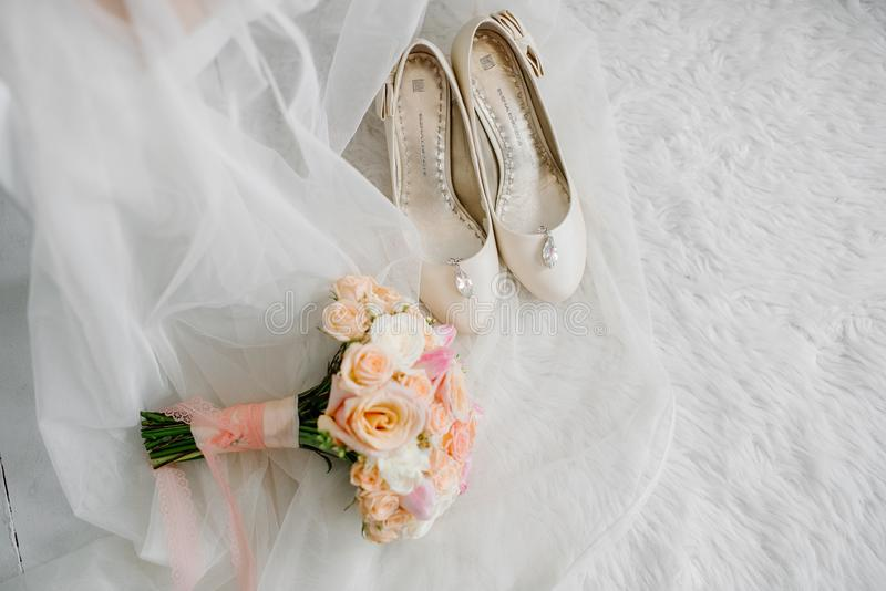 Setting the bride`s wedding items at the training camp royalty free stock photos