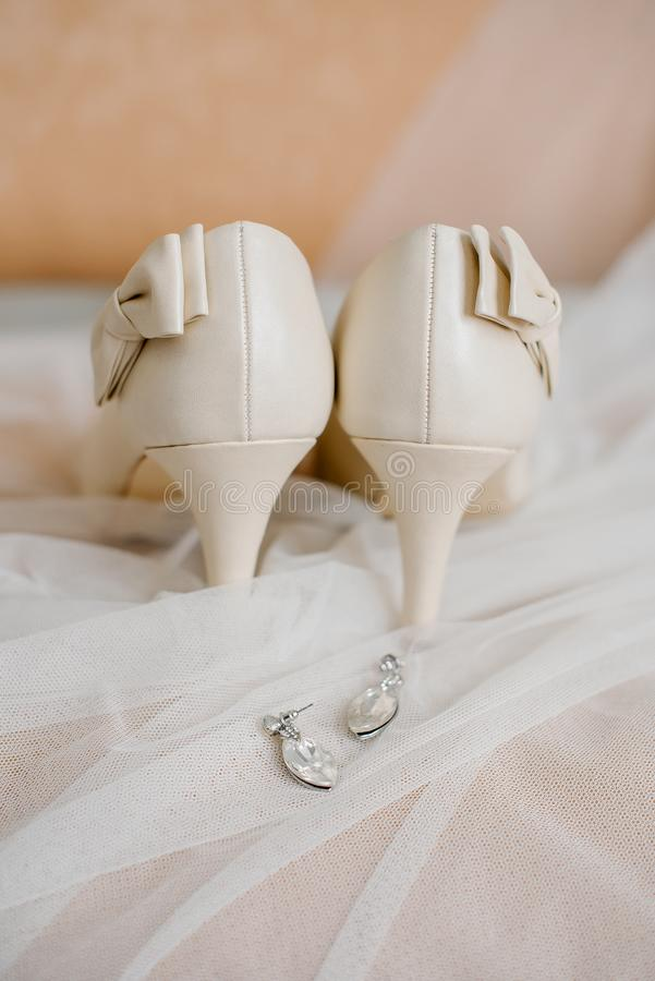 Setting the bride`s wedding items at the training camp royalty free stock photo