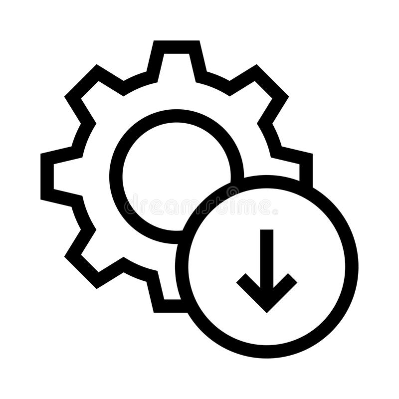 Setting Download Glyphs Icon Stock Illustration