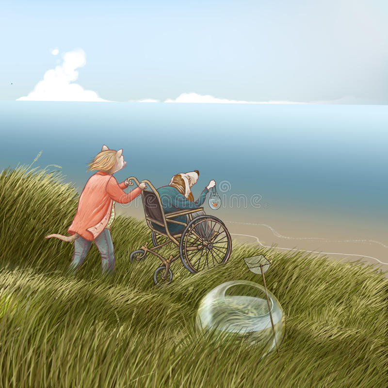 Setting free. Digital drawing of cat wheeling an old dog in a wheelchair, helping him setting free a goldfish