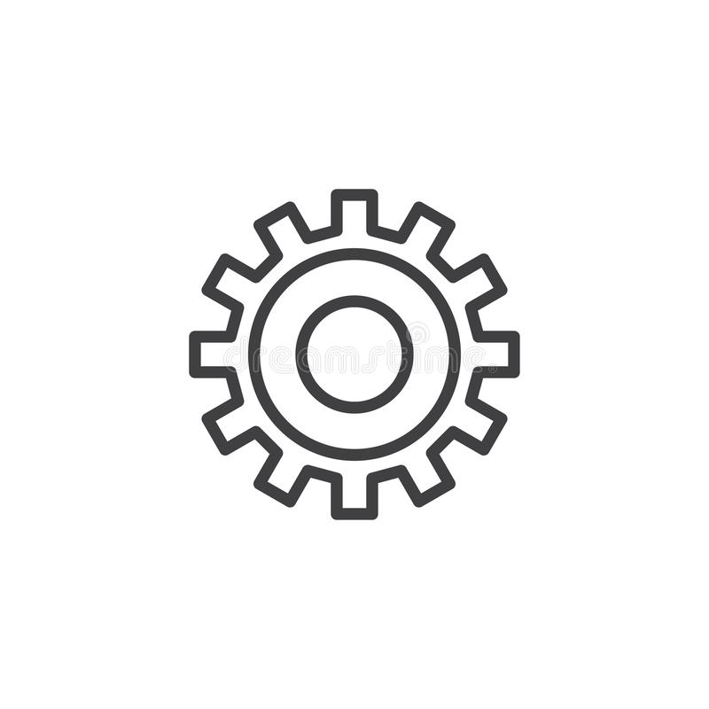Setting gear line icon royalty free illustration