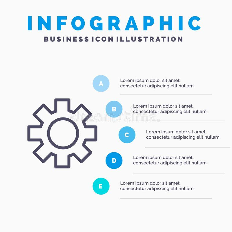Setting, Gear, Logistic, Global Line icon with 5 steps presentation infographics Background stock illustration