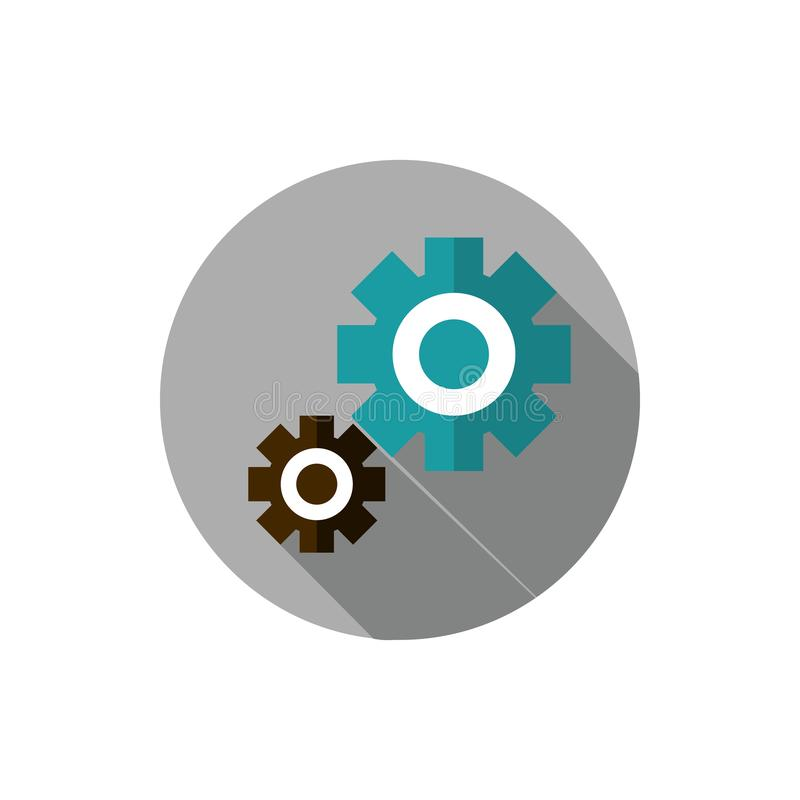 Setting gears work business strategy icon block shadow stock illustration
