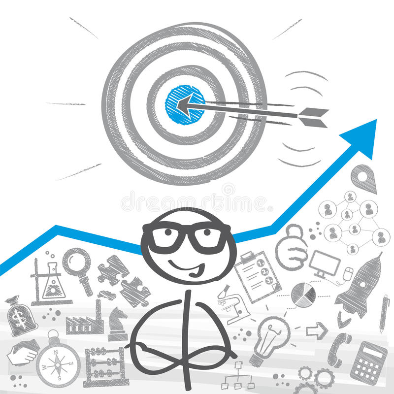 Setting goals concept. Stick figure standing in front of a setting goals concept vector illustration