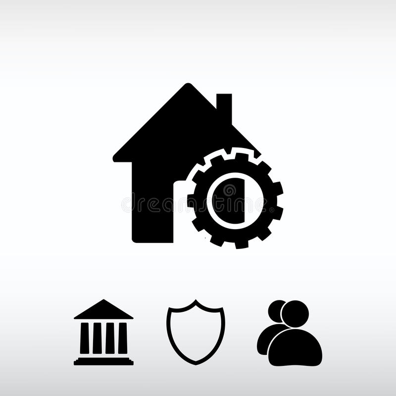 Setting parameters, house icon, vector illustration. Flat design stock photos