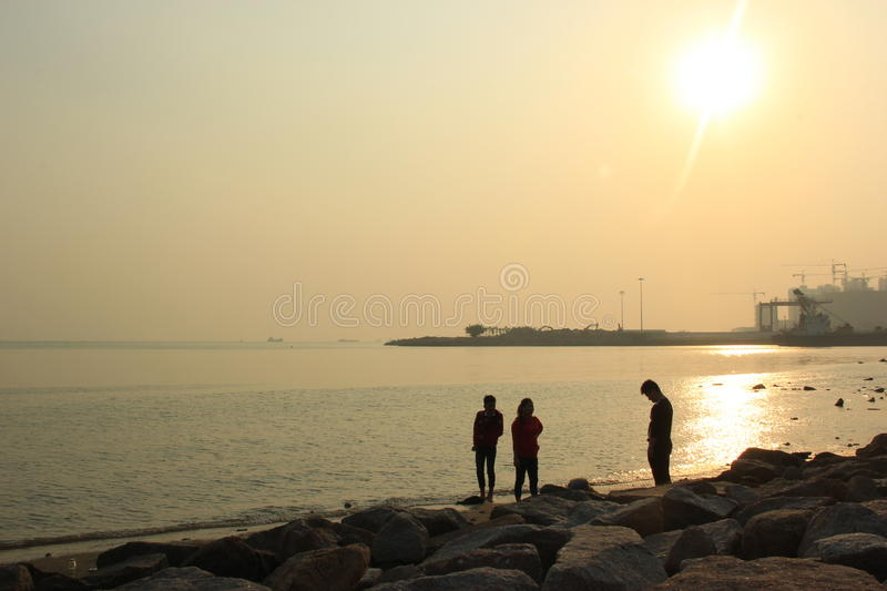 The Setting sun and Golden coastline in SHENZHEN,CHINA ,ASIA royalty free stock photography