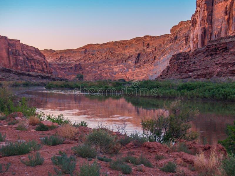 Colorado River Reflections near Moab, Utah stock photography