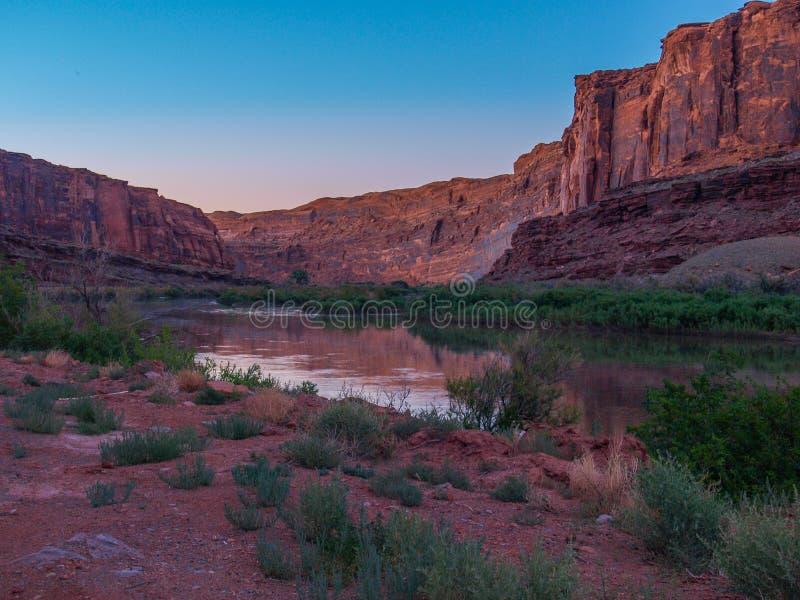 Colorado River Reflections near Moab, Utah stock photo