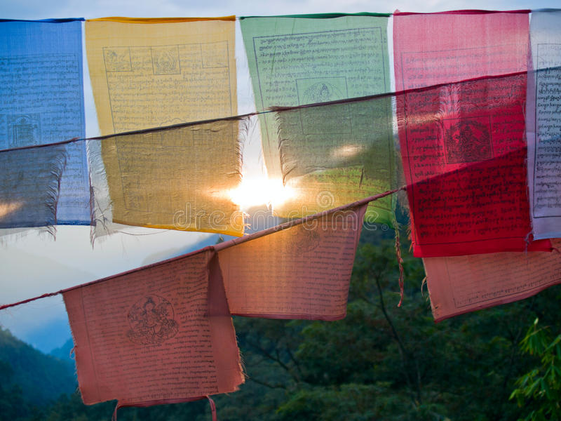 Setting sun shining through prayer flags stock image