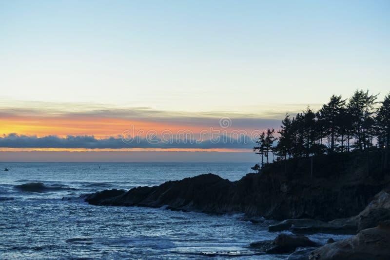 Horizon Sunset At Depoe Bay royalty free stock image
