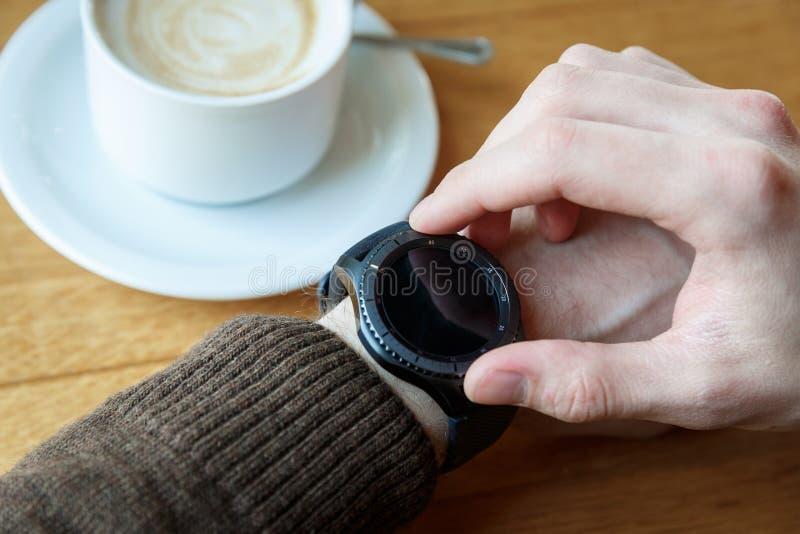 Setting up smart watch stock photos