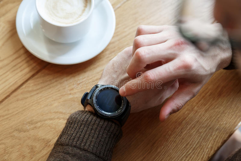 Setting up smart watch royalty free stock image