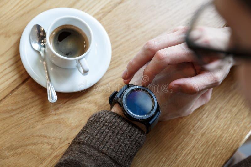 Setting up smart watch stock photography
