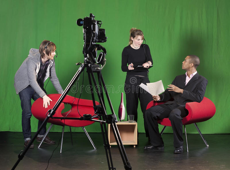 Download Setting Up For A TV Recording Stock Photo - Image: 29295230