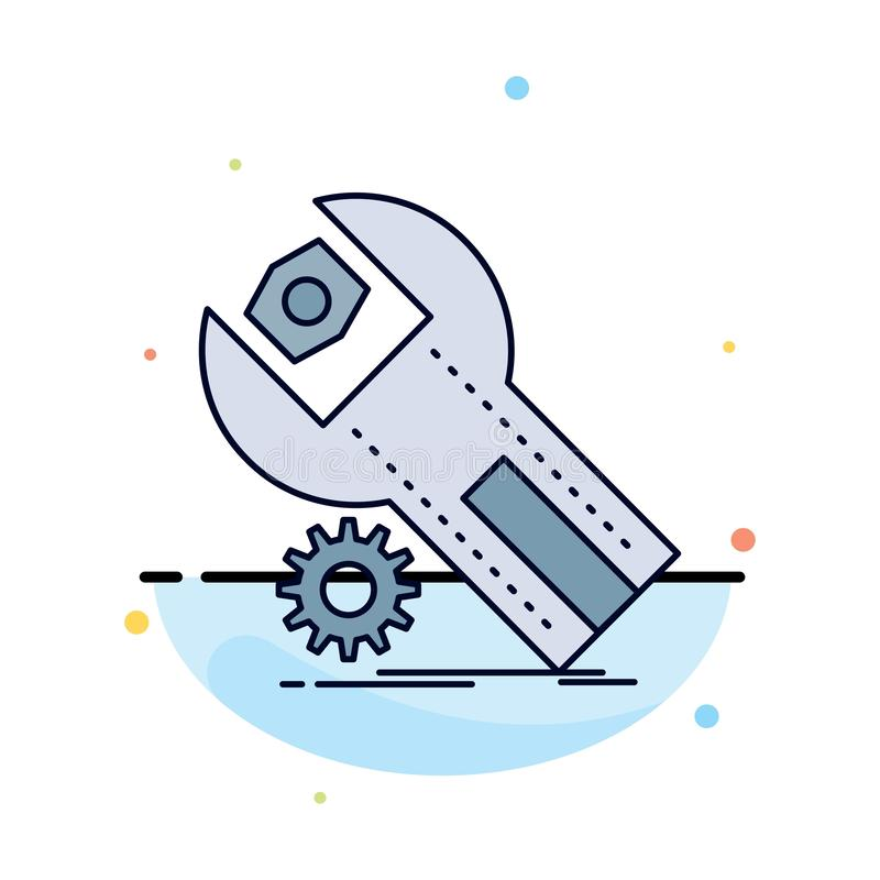 settings, App, installation, maintenance, service Flat Color Icon Vector stock illustration