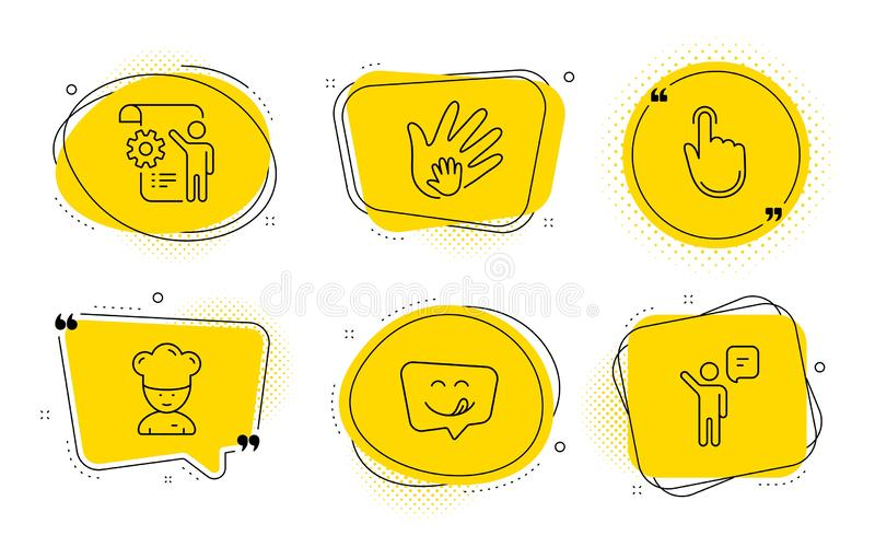 Cooking chef, Hand click and Yummy smile icons set. Settings blueprint, Social responsibility and Agent signs. Vector. Settings blueprint, Social responsibility vector illustration