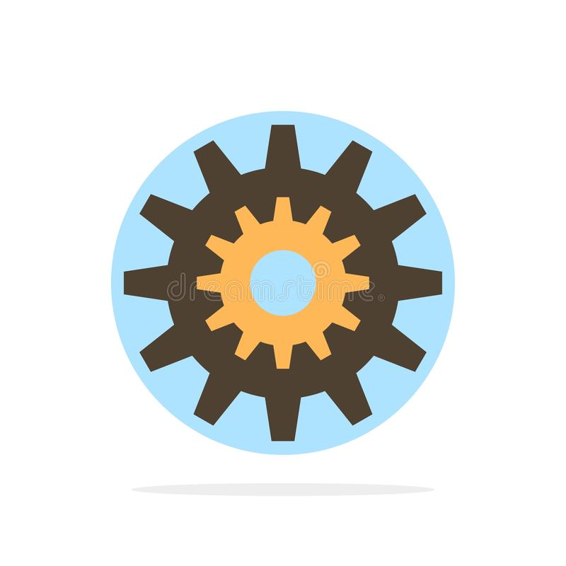 Settings, Cog, Gear, Production, System, Wheel, Work Abstract Circle Background Flat color Icon royalty free illustration