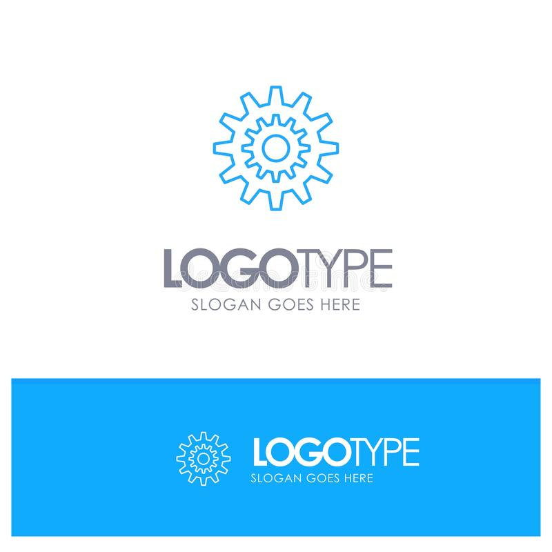 Settings, Cog, Gear, Production, System, Wheel, Work Blue outLine Logo with place for tagline vector illustration