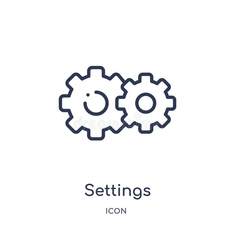 settings cogwheel button icon from user interface outline collection. Thin line settings cogwheel button icon isolated on white royalty free illustration