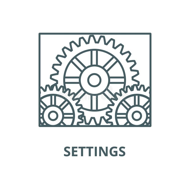 Settings, engine vector line icon, linear concept, outline sign, symbol stock illustration