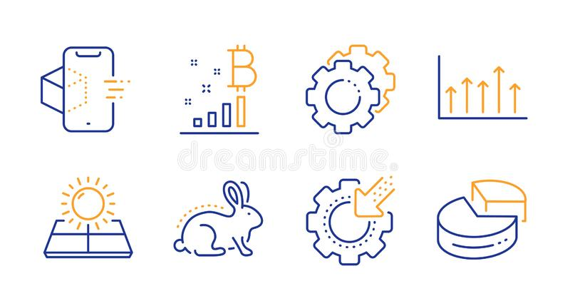 Settings gears, Augmented reality and Seo gear icons set. Bitcoin graph, Animal tested and Growth chart signs. Vector royalty free illustration