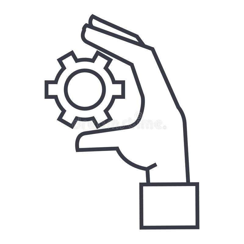 Settings gears in hand linear icon, sign, symbol, vector on isolated background vector illustration