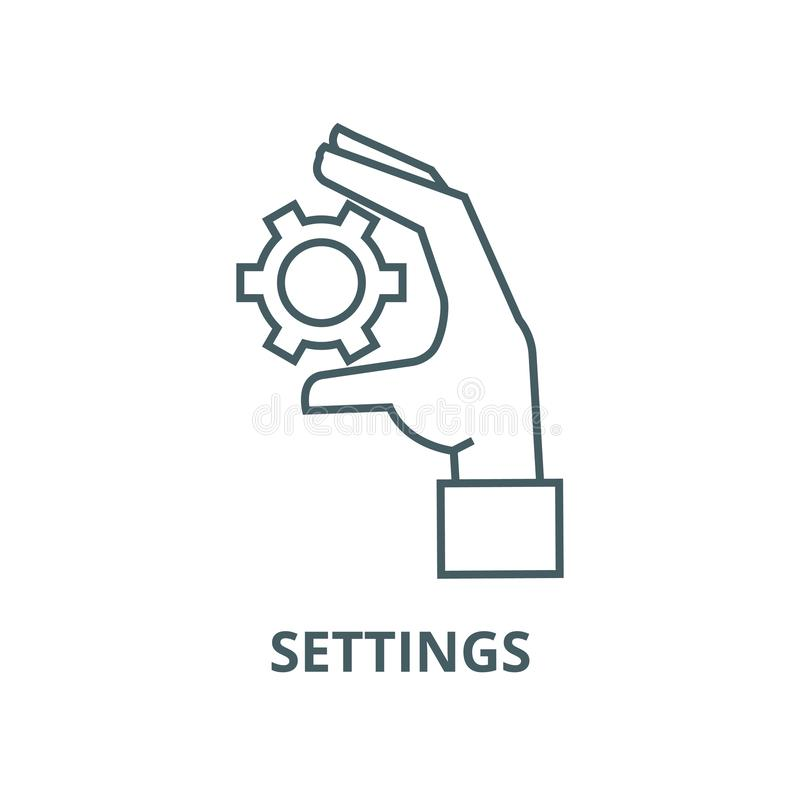 Settings gears in hand vector line icon, linear concept, outline sign, symbol stock illustration