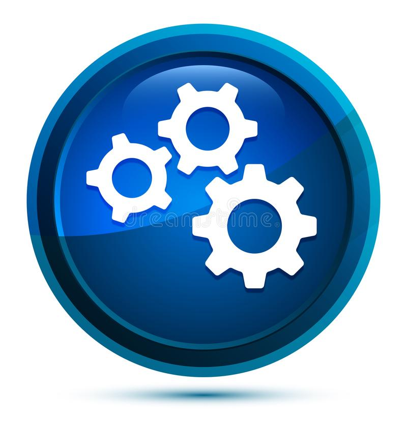 Settings gears icon elegant blue round button illustration royalty free illustration