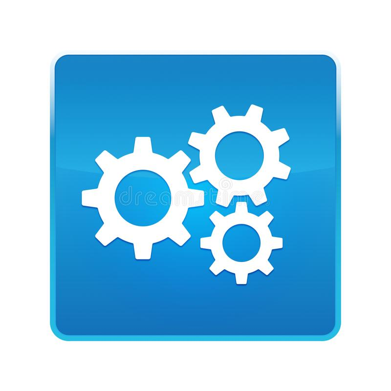 Settings gears icon shiny blue square button royalty free illustration