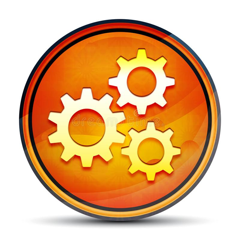 Settings gears icon shiny bright orange round button illustration royalty free illustration