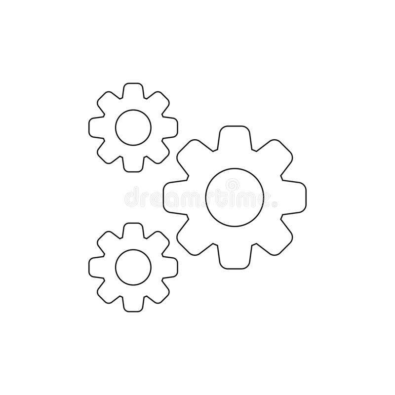 Gears Icon Isolated Black Outline In White Background Stock Vector