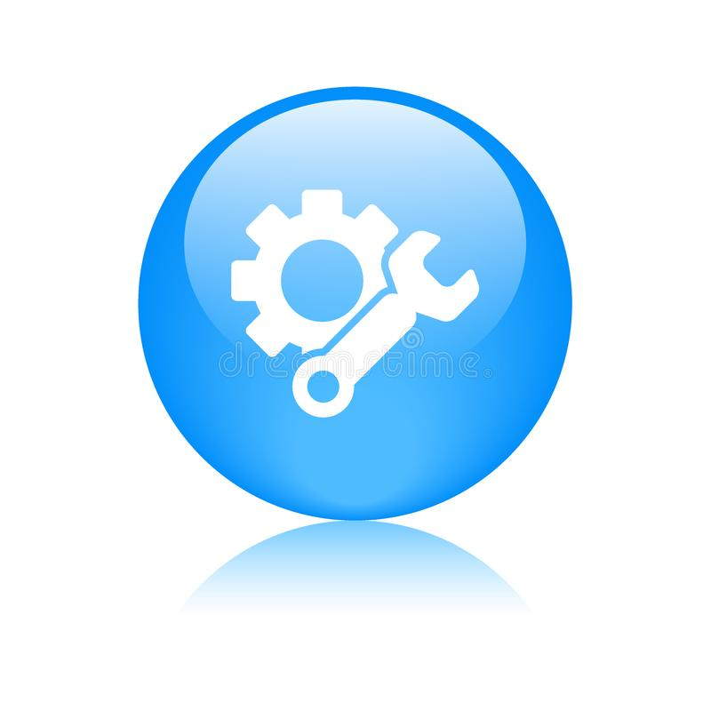 Settings icon web button blue vector illustration