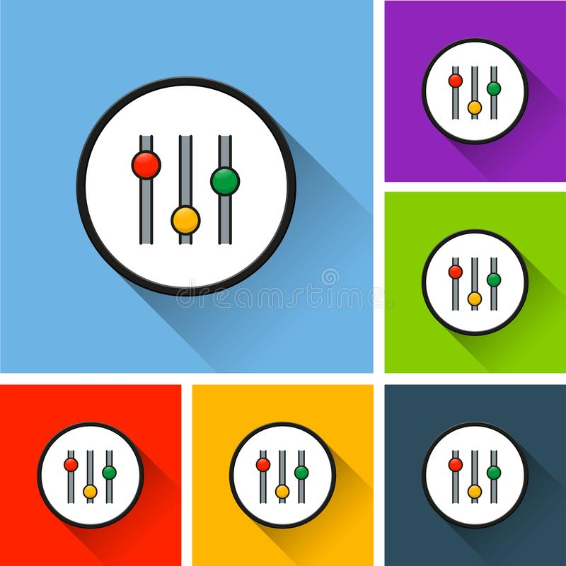 Settings icons with long shadow royalty free illustration