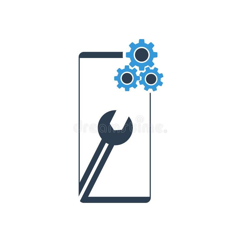 Settings on smartphone screen. Phone fix repair icon logo vector. Eps 10 royalty free illustration