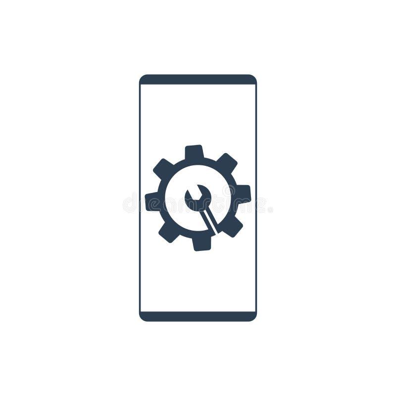 Settings on smartphone screen. Phone fix repair icon logo vector. Eps 10 vector illustration