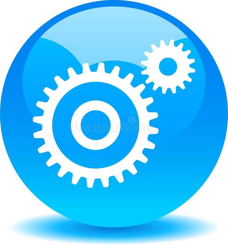 Settings web button blue royalty free illustration