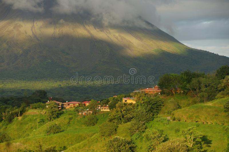 Settlement at the bottom of Arenal volcano, Costa Rica. stock photography