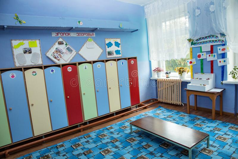 The room for changing clothes and lockers for personal belongings in. Settlement Pervomaisky, Tula region, Russia - SEPTEMBER 20, 2016: room for changing clothes stock photo