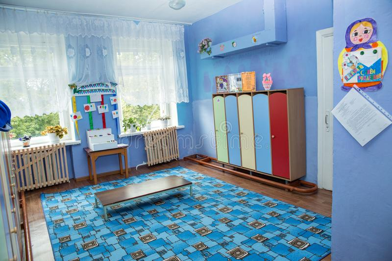 Room for changing clothes and lockers for personal belongings in kindergarten. Settlement Pervomaisky, Tula region, Russia - SEPTEMBER 20, 2016: room for royalty free stock photography