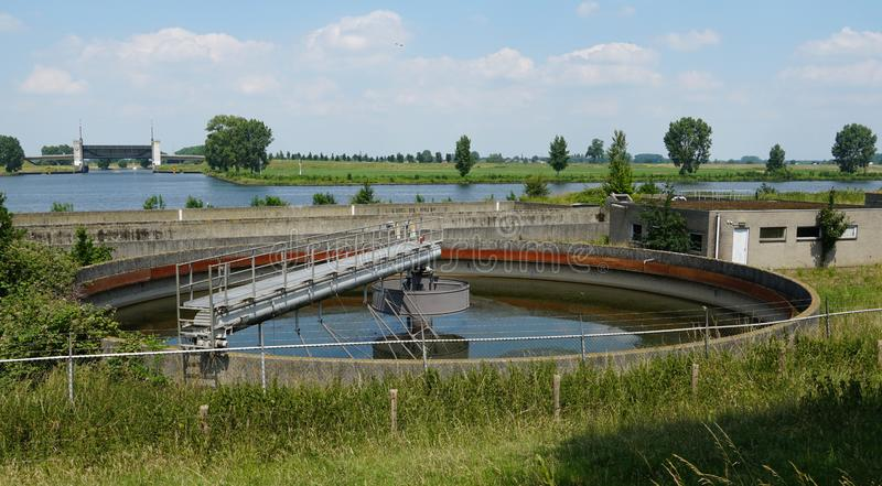 Water purification facility. Settling tanks in a water purification facility in the Netherlands royalty free stock images