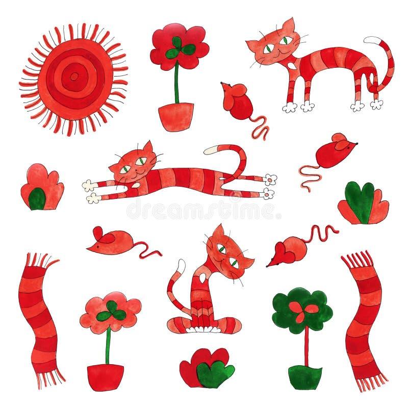 Setu ciepłego kota tabby domu kordialny pomarańczowy imbirowy pogodny ochraniacz, kwiat, krzak i mysz, royalty ilustracja