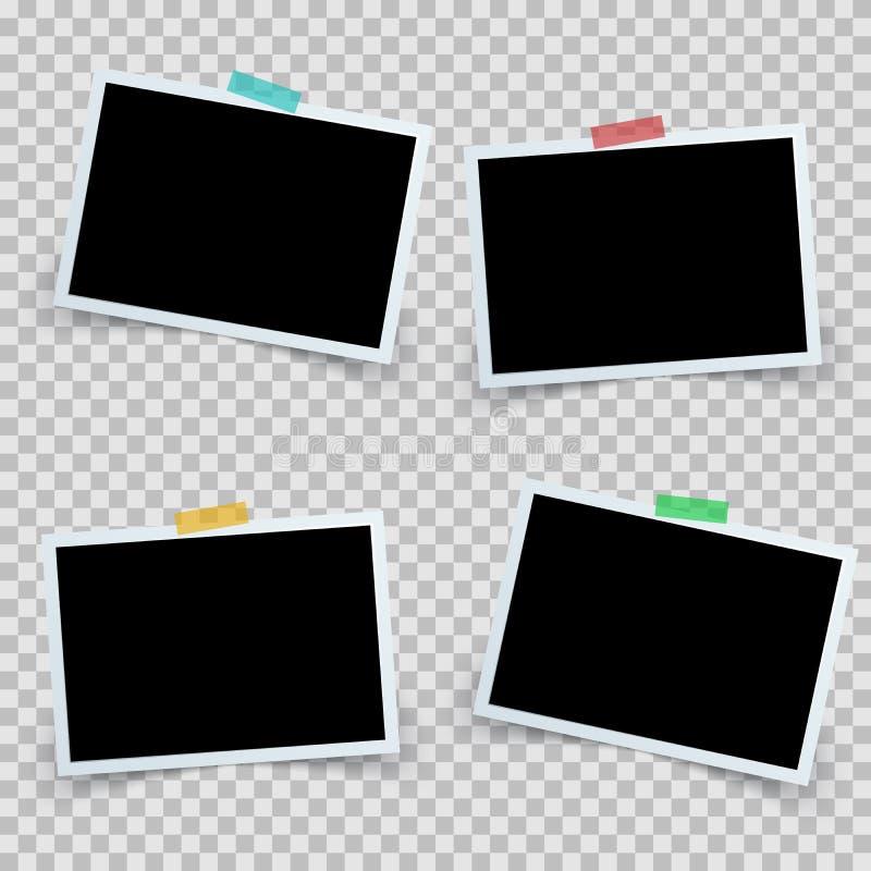 Setu cztery fotografii ramowa ikona ilustracji