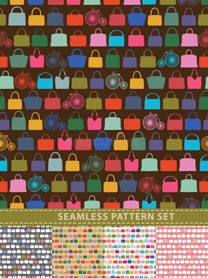 setu deseniowy bezszwowy wektor Kolorowe torebki i retro bicykl royalty ilustracja