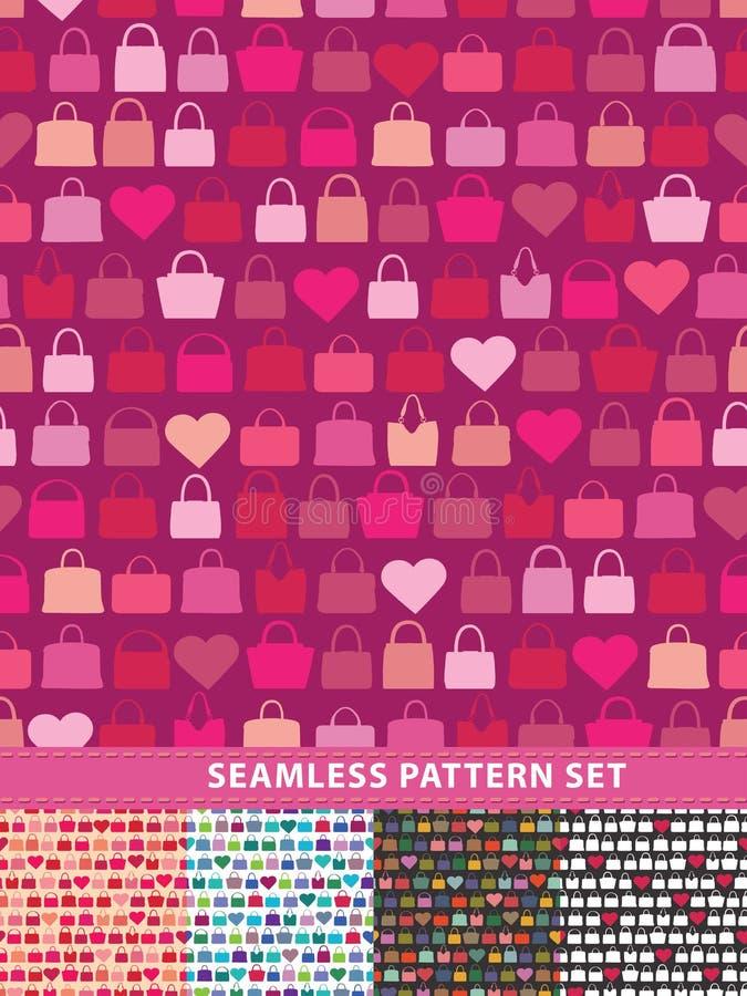 setu deseniowy bezszwowy wektor Kolorowe torebki i serca ilustracji