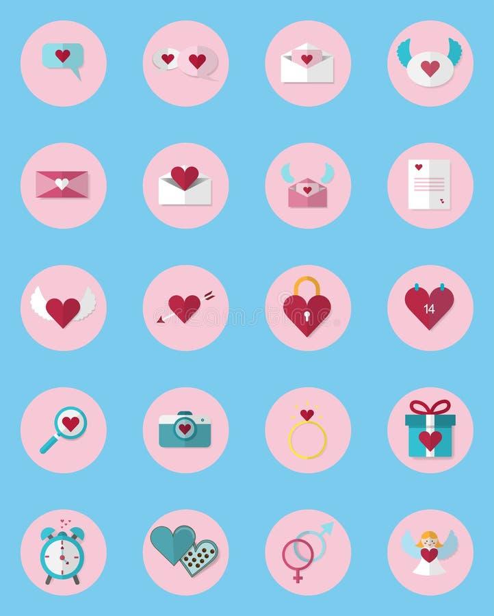 Setu 20 ikony walentynki ` s dnia ikona Używać w środkach Kolekcja walentynek ikony ilustracja wektor